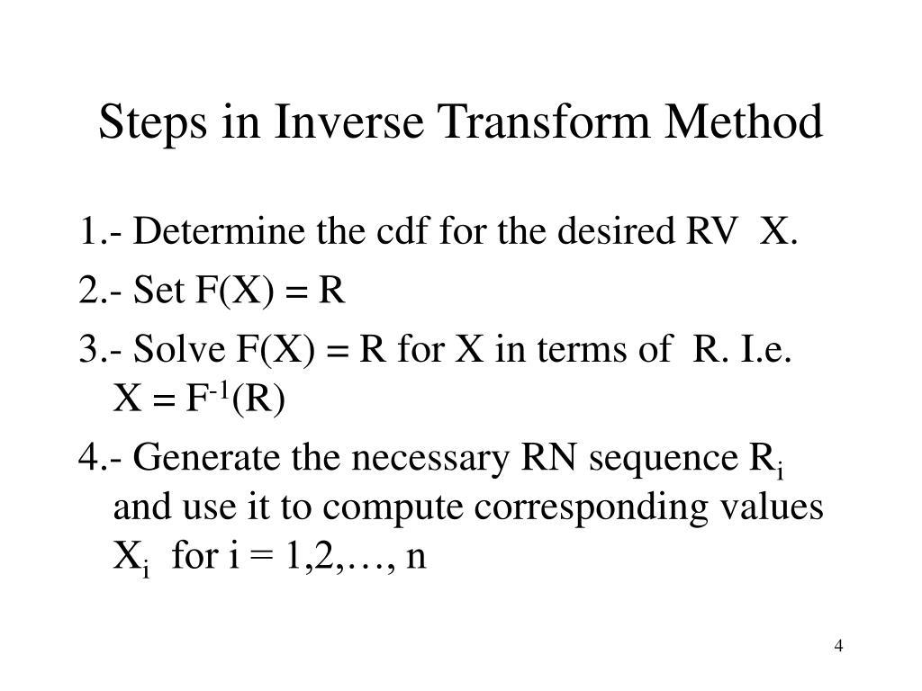 Steps in Inverse Transform Method
