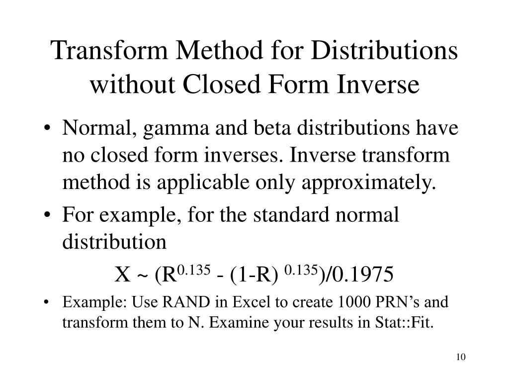 Transform Method for Distributions without Closed Form Inverse