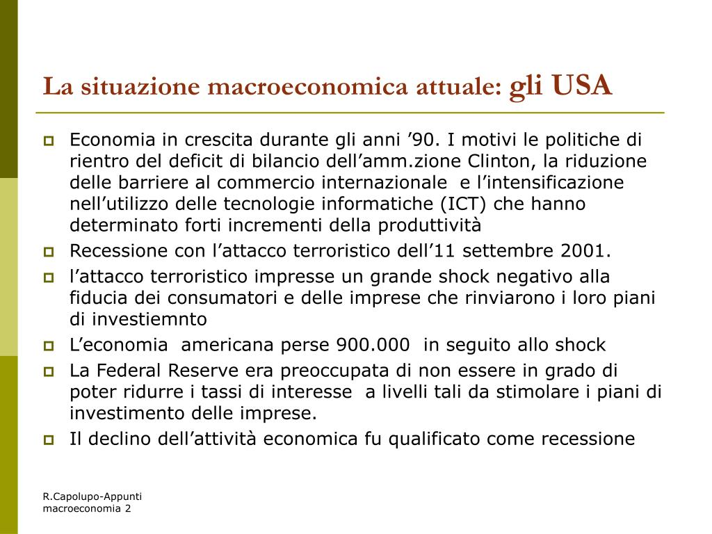La situazione macroeconomica attuale: