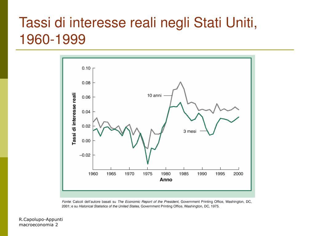 Tassi di interesse reali negli Stati Uniti, 1960-1999