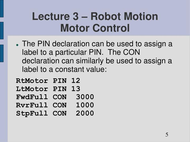 Lecture 3 – Robot Motion