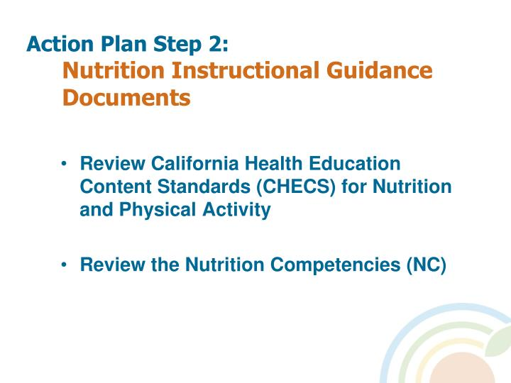 Action plan step 2 nutrition instructional guidance documents