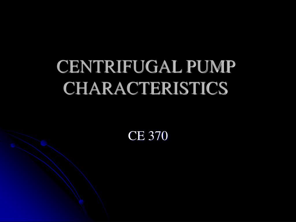 centrifugal pump characteristics l.