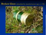 broken glass identified by attached screw cap n 94