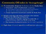 community off sales in averageburgh