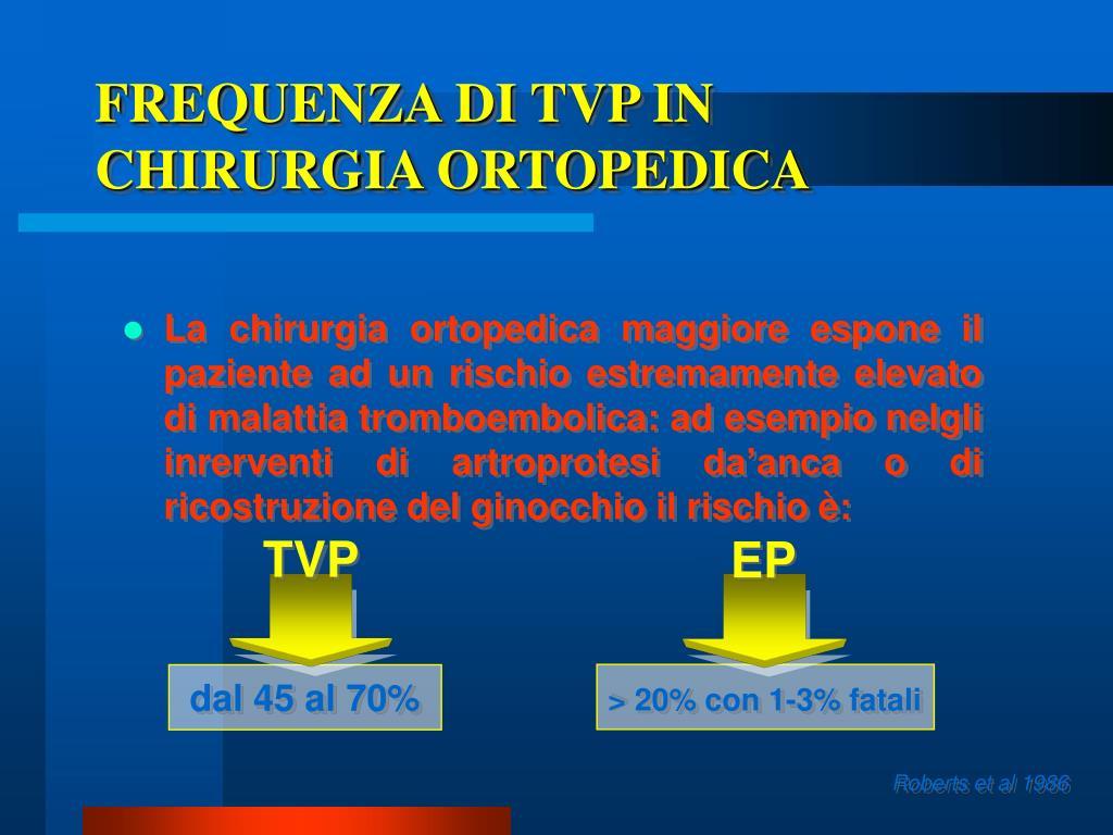 FREQUENZA DI TVP IN CHIRURGIA ORTOPEDICA
