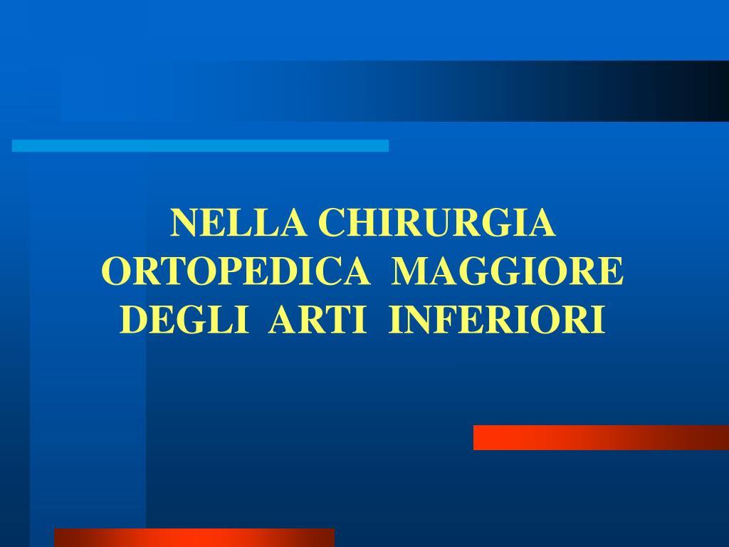 NELLA CHIRURGIA  ORTOPEDICA  MAGGIORE  DEGLI  ARTI  INFERIORI