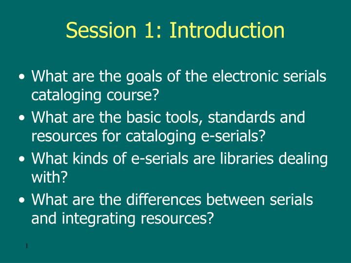 session 1 introduction n.