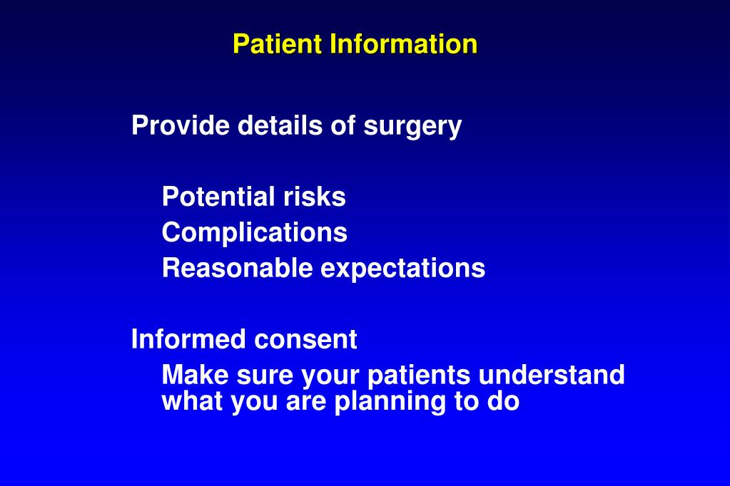 Provide details of surgery