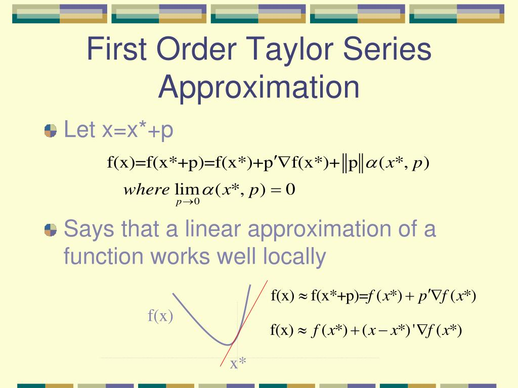 First Order Taylor Series Approximation