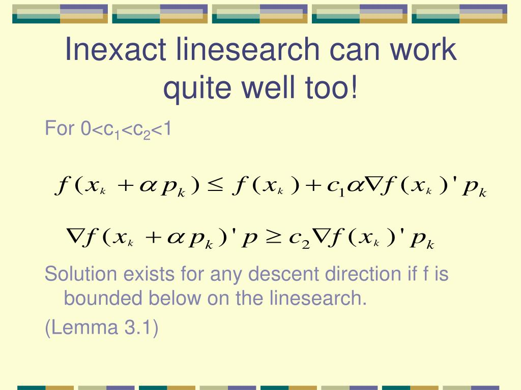Inexact linesearch can work quite well too!