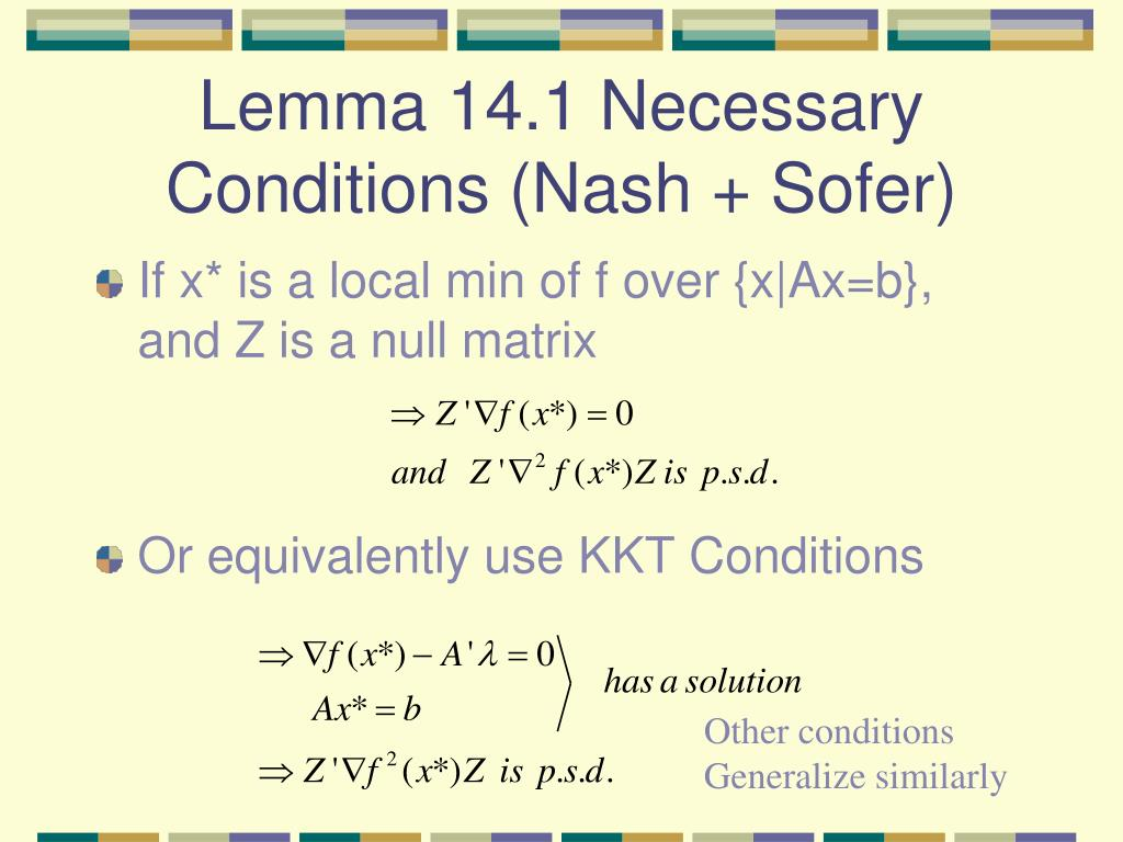 Lemma 14.1 Necessary Conditions (Nash + Sofer)