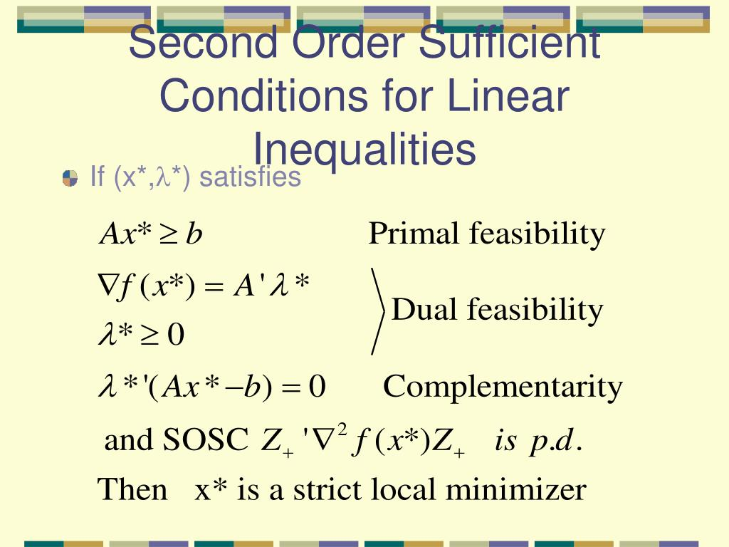Second Order Sufficient Conditions for Linear Inequalities