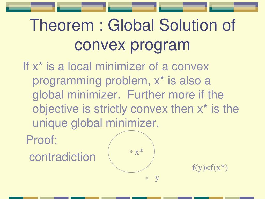 Theorem : Global Solution of convex program