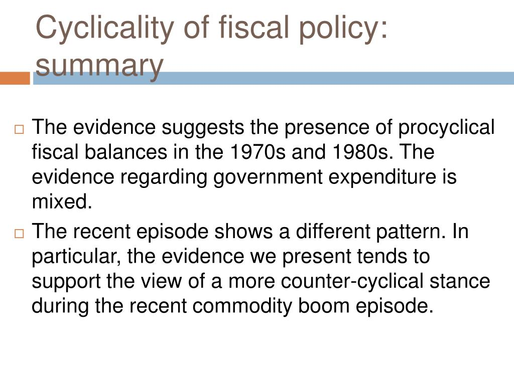 Cyclicality of fiscal policy: summary