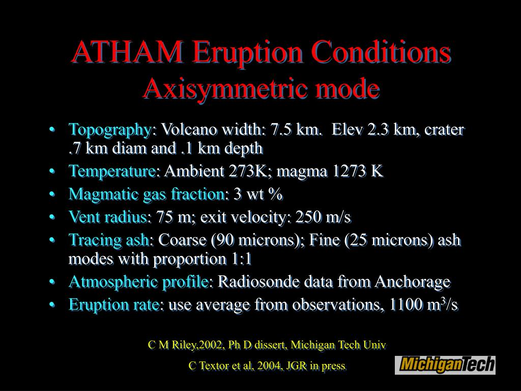 ATHAM Eruption Conditions