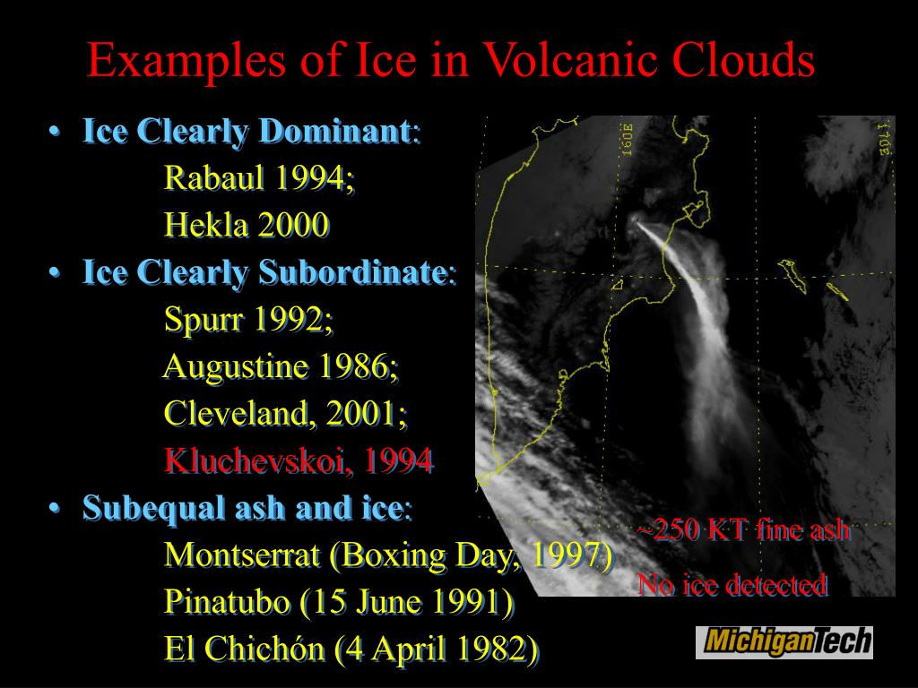 Examples of Ice in Volcanic Clouds