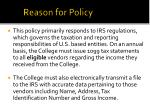 reason for policy
