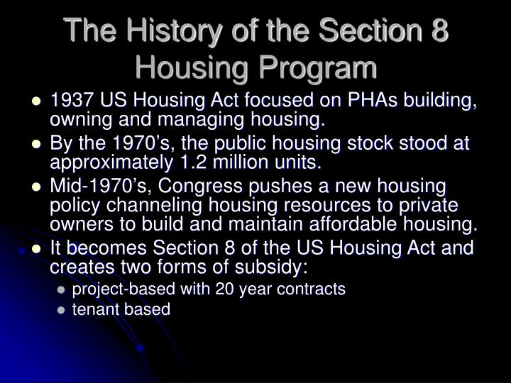 The history of the section 8 housing program