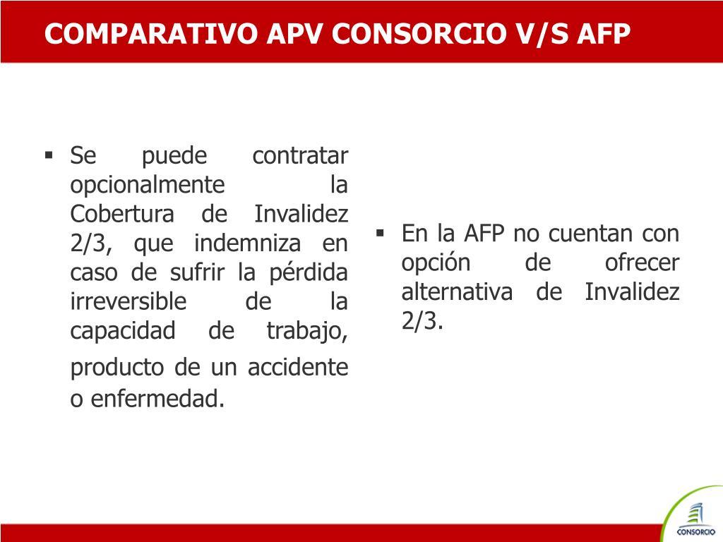 COMPARATIVO APV CONSORCIO V/S AFP