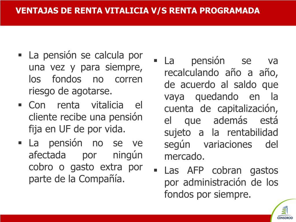 VENTAJAS DE RENTA VITALICIA V/S RENTA PROGRAMADA