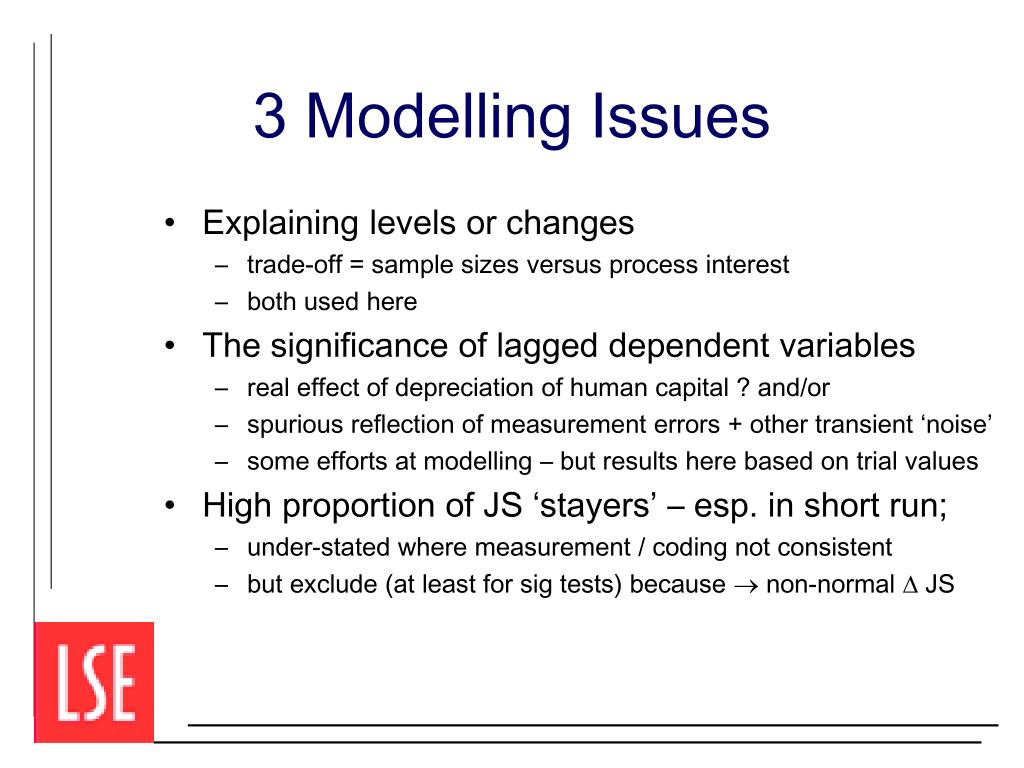 3 Modelling Issues