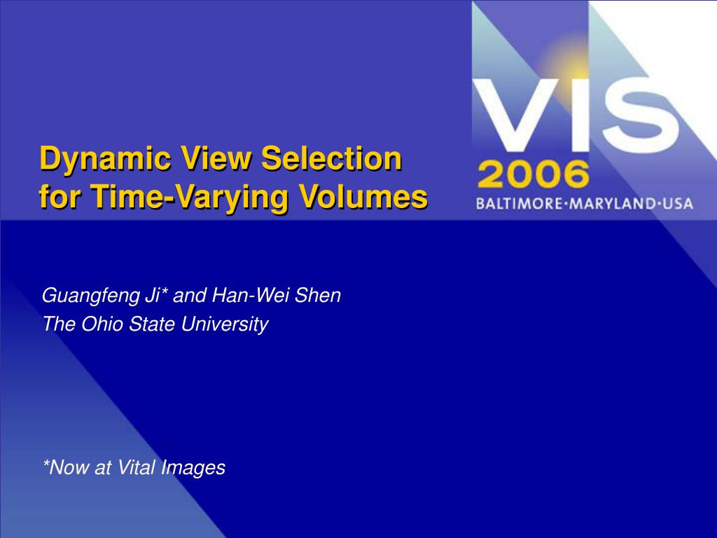 dynamic view selection for time varying volumes