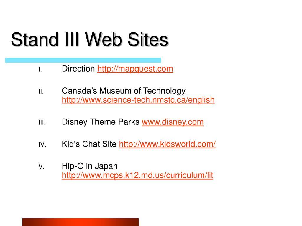 Stand III Web Sites