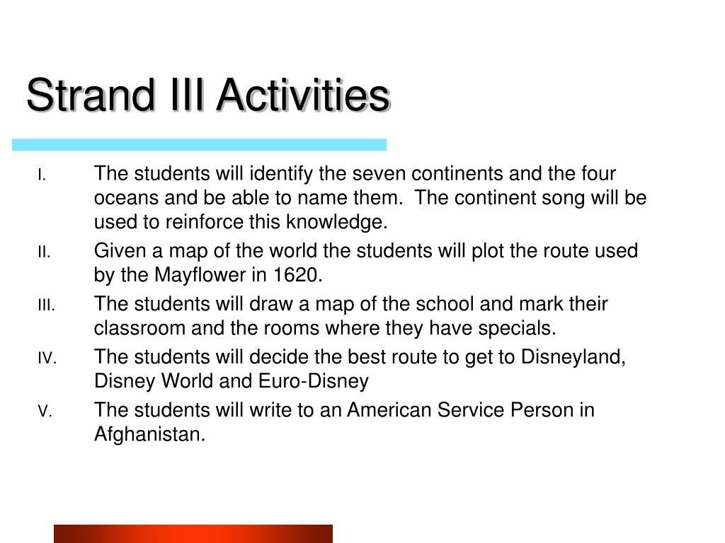 Strand III Activities