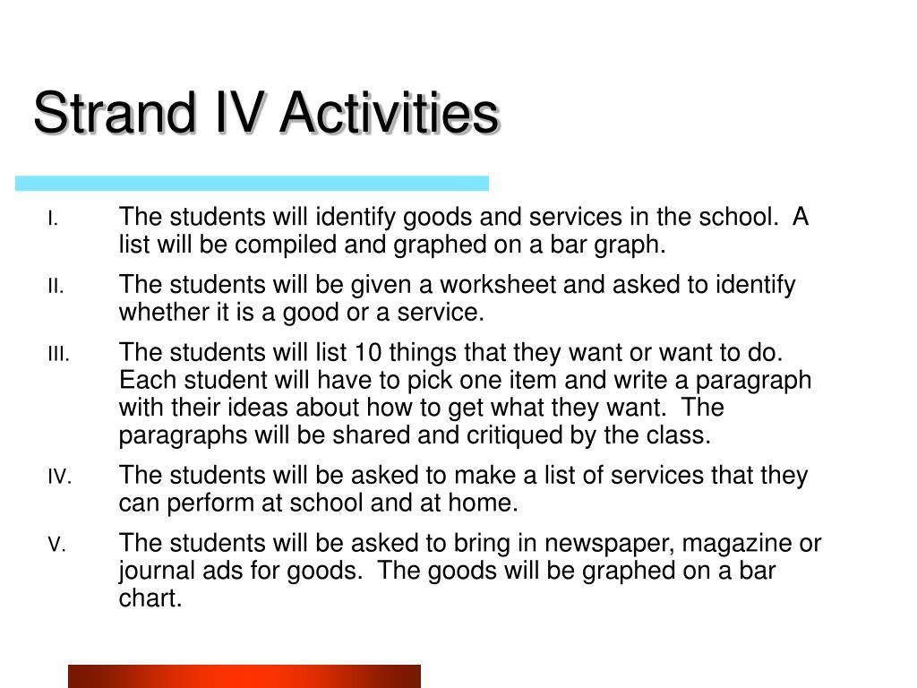 Strand IV Activities