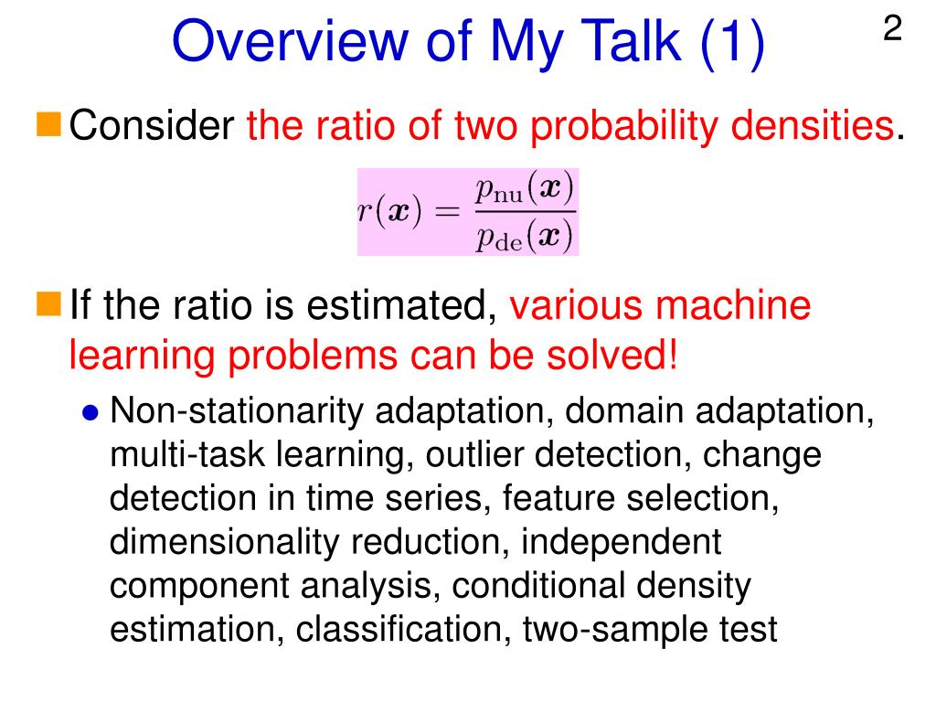 Overview of My Talk (1)