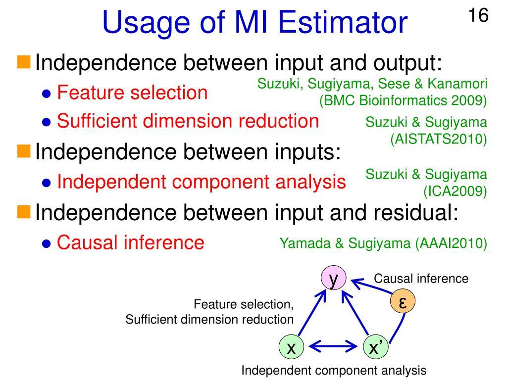 Usage of MI Estimator