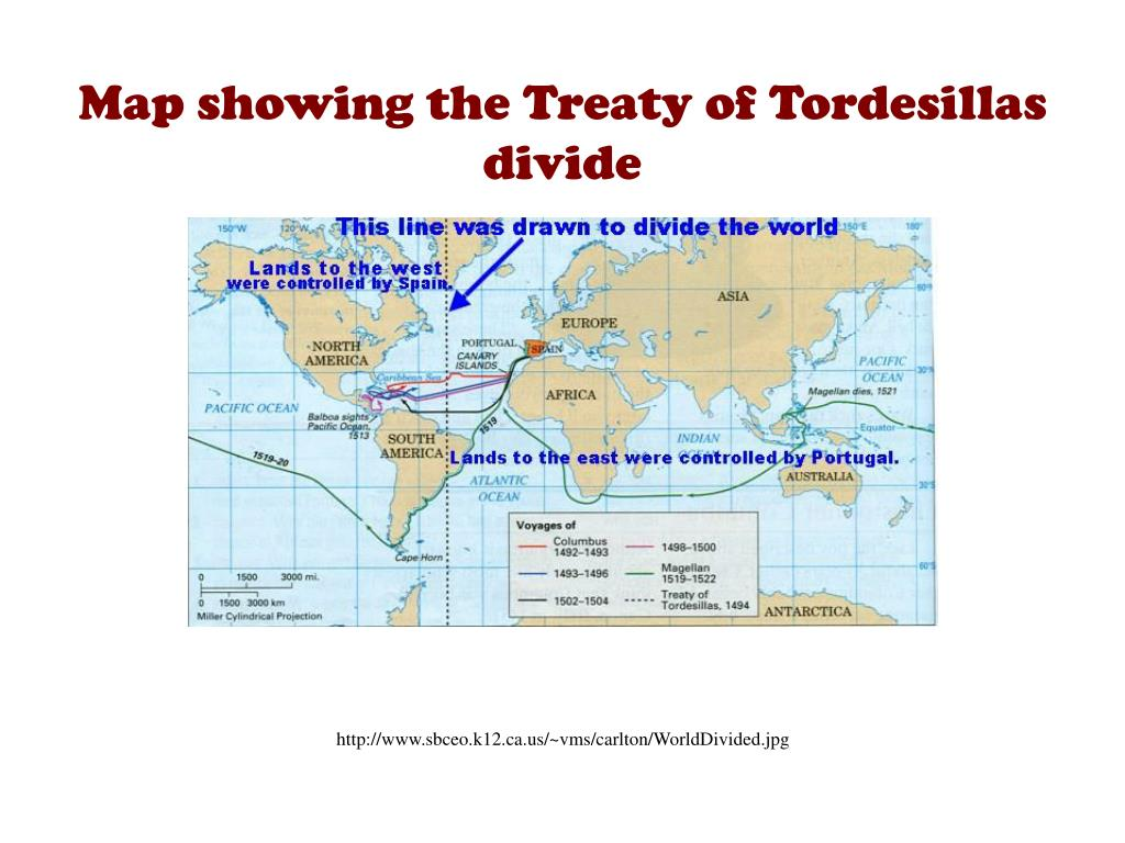 Map showing the Treaty of Tordesillas divide