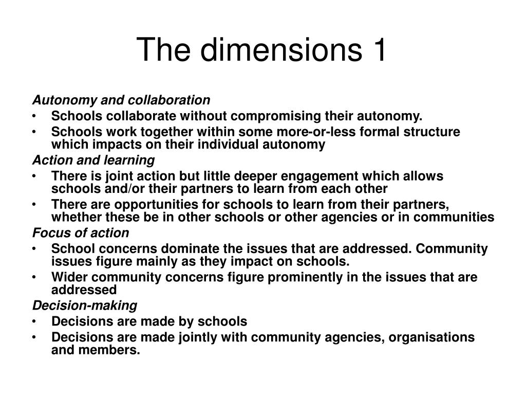 The dimensions 1