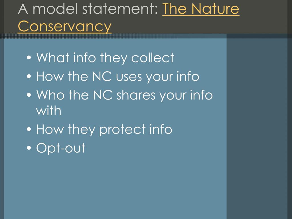 A model statement: