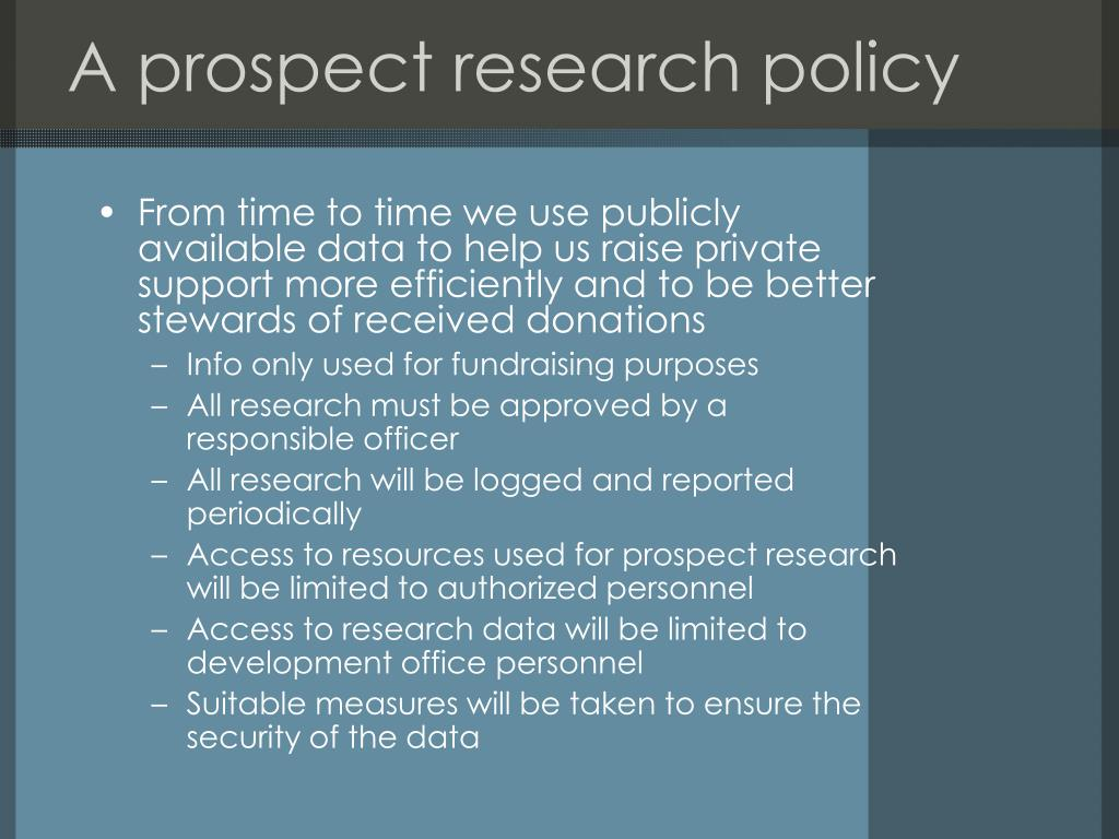 A prospect research policy