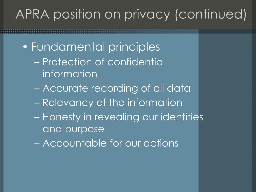 APRA position on privacy (continued)