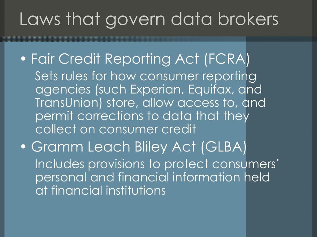Laws that govern data brokers