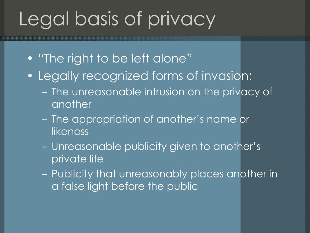 Legal basis of privacy