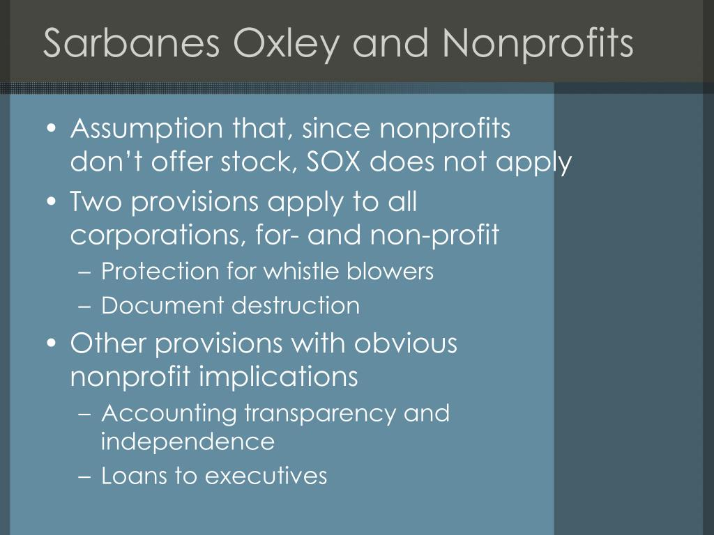 Sarbanes Oxley and Nonprofits