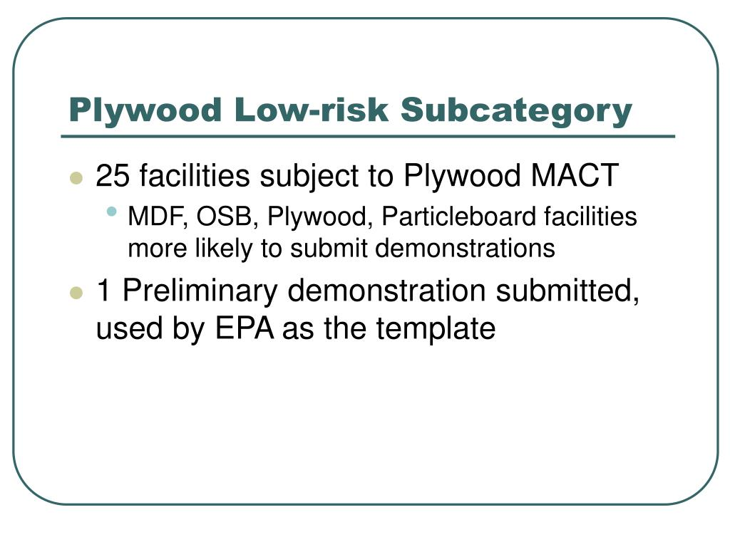 Plywood Low-risk Subcategory