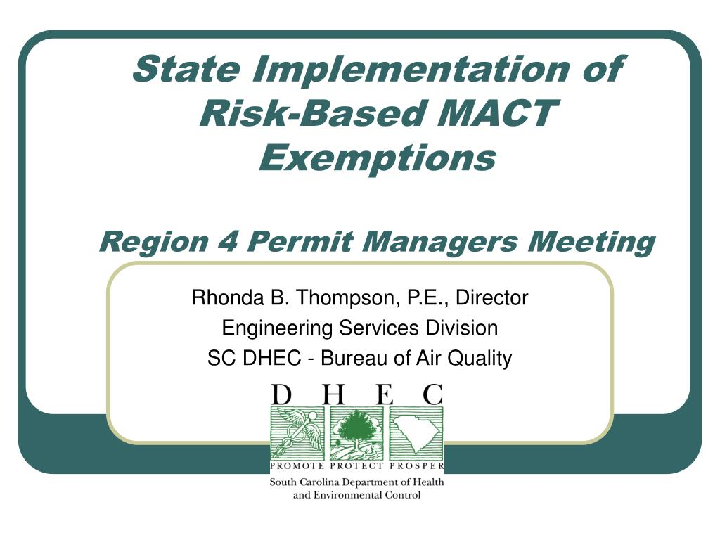 State Implementation of Risk-Based MACT Exemptions
