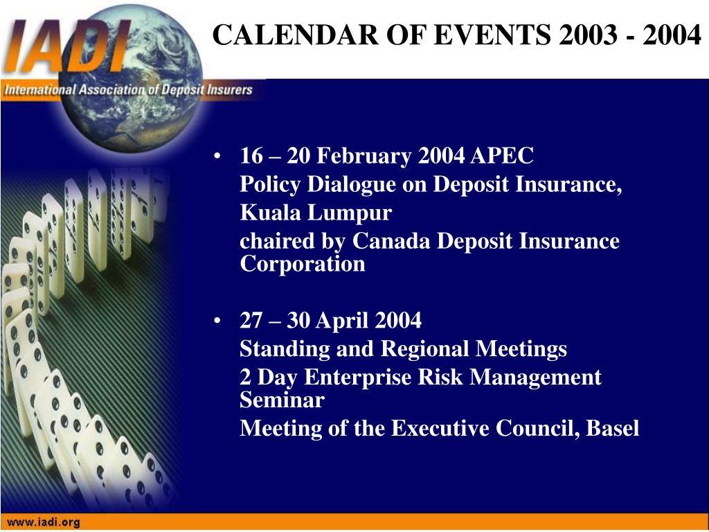16 – 20 February 2004 APEC