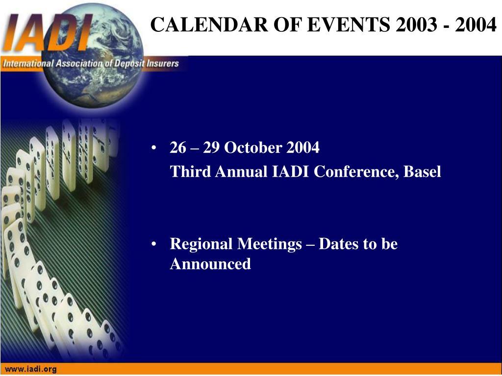 26 – 29 October 2004
