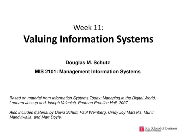Week 11 valuing information systems