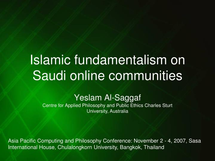 islamic fundamentalism on saudi online communities n.