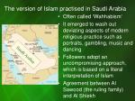 the version of islam practised in saudi arabia