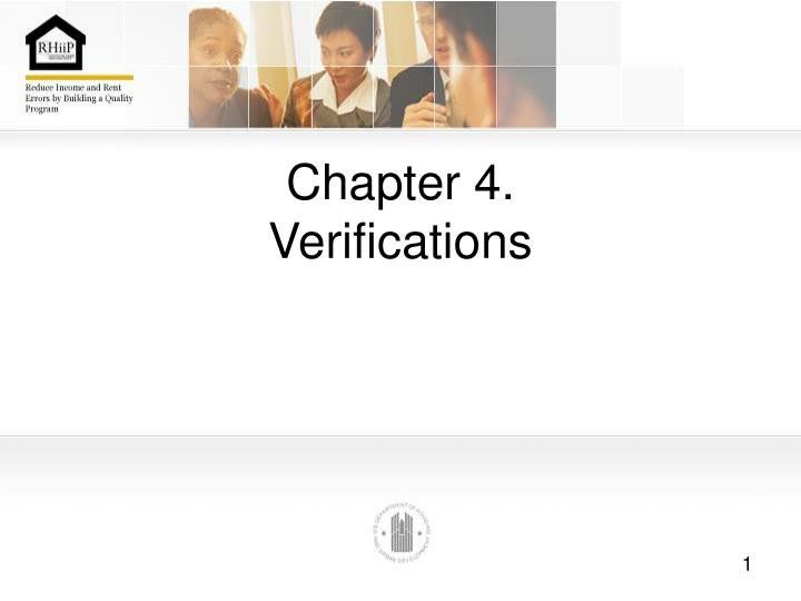 Chapter 4 verifications