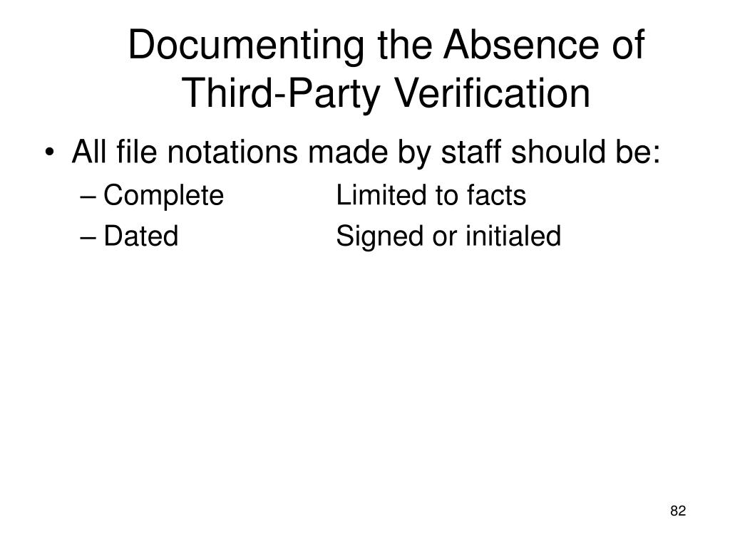 Documenting the Absence of Third-Party Verification