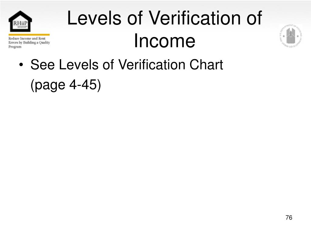 Levels of Verification of Income